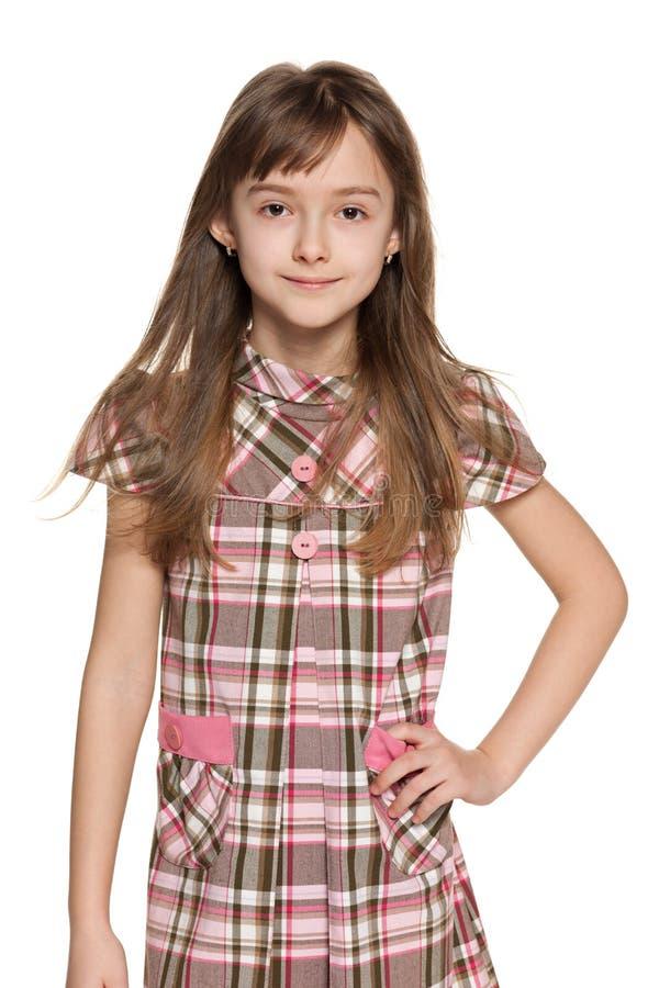 Manier jong meisje op het wit royalty-vrije stock foto's