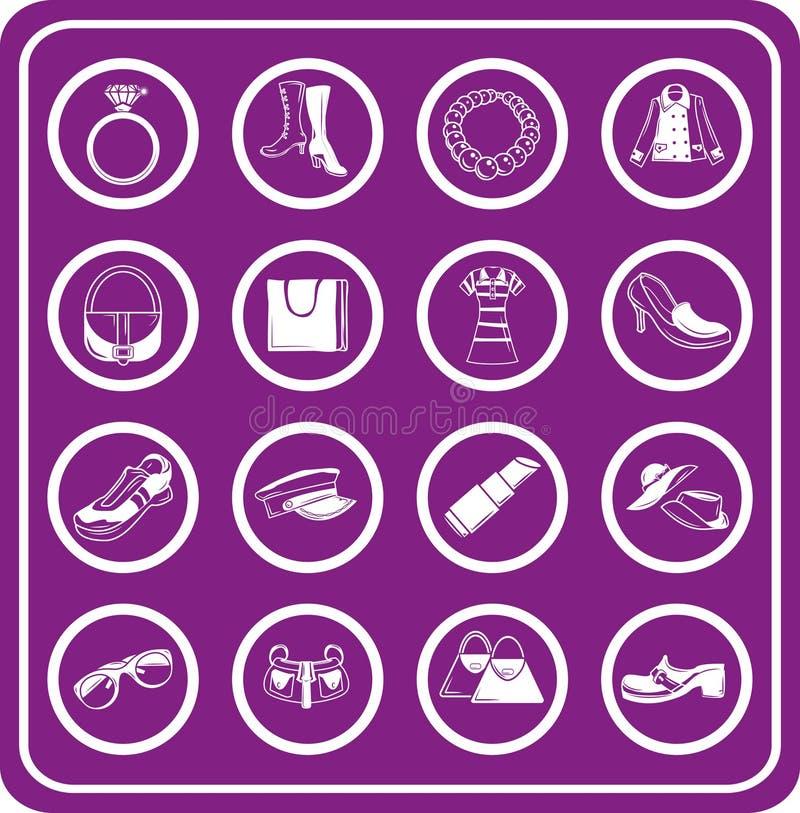 Manier, kleren en bijkomende pictogrammen royalty-vrije illustratie