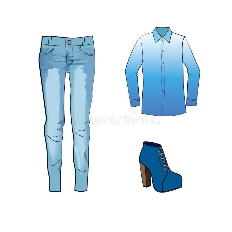 Manier met jeansbroeken, gradiëntblouse en blauwe enkellaarzen die wordt geplaatst stock illustratie