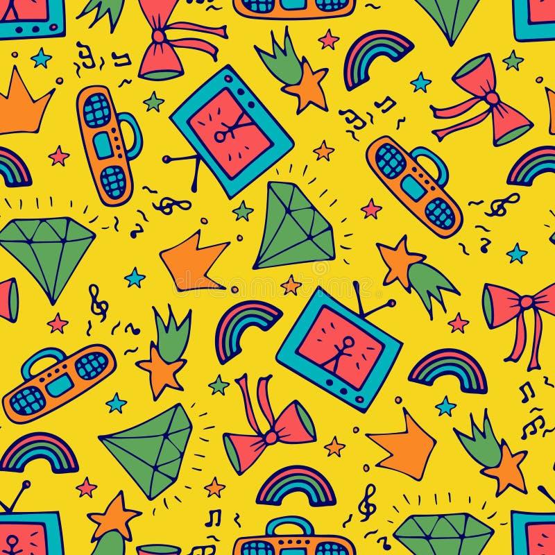 Manier naadloos patroon met de bandrecorder, TV, en de krabbels stock illustratie