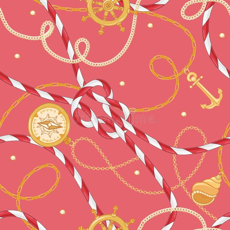 Manier Naadloos Patroon met Gouden Kettingen en Anker voor Stoffenontwerp Marine Background met Kabel, Knopen Zeevaart royalty-vrije illustratie