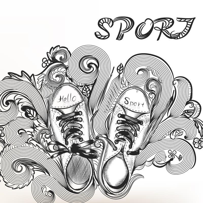 Manier schetsmatige krabbel met sportlaarzen royalty-vrije illustratie