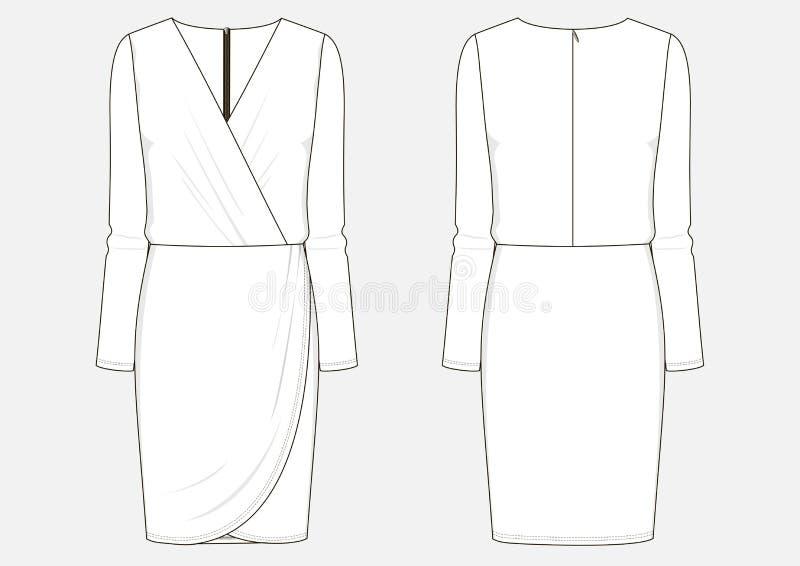 Manier technische schets van kleding stock illustratie