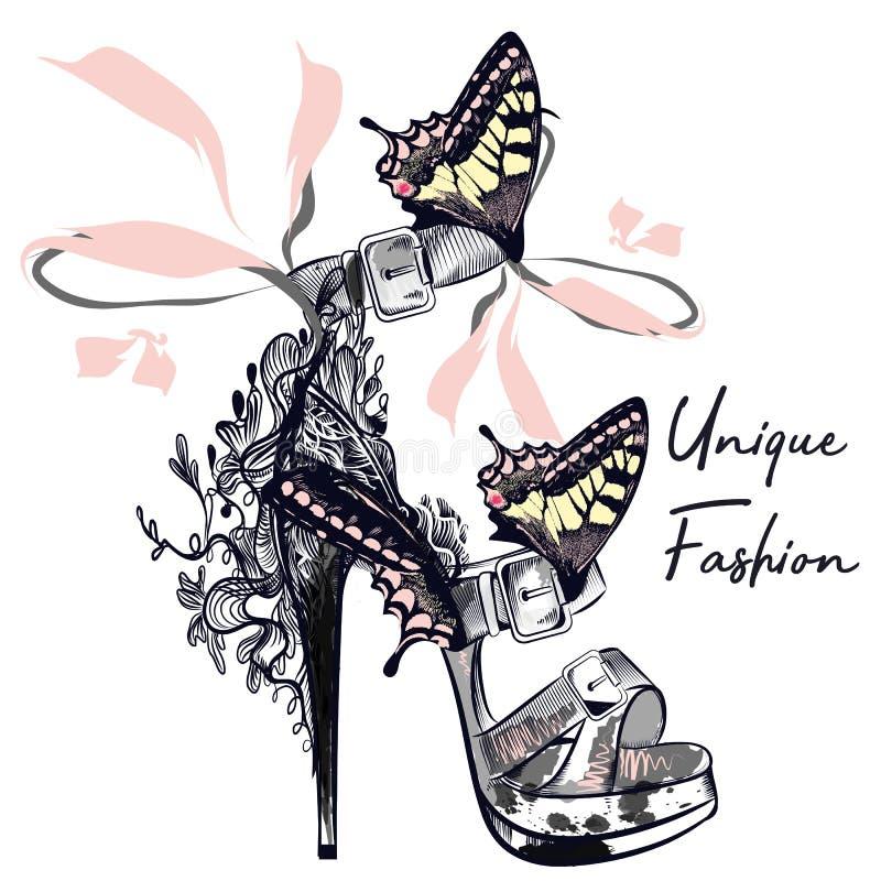 Manier vectorillustratie met modieuze vrouwelijke schoen verfraaide B royalty-vrije illustratie