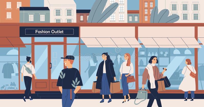 Manierafzet, de kledingsopslag van de massamarkt, in kledingsboutique, winkelcentrum of wandelgalerij en mensen, kopers of royalty-vrije illustratie