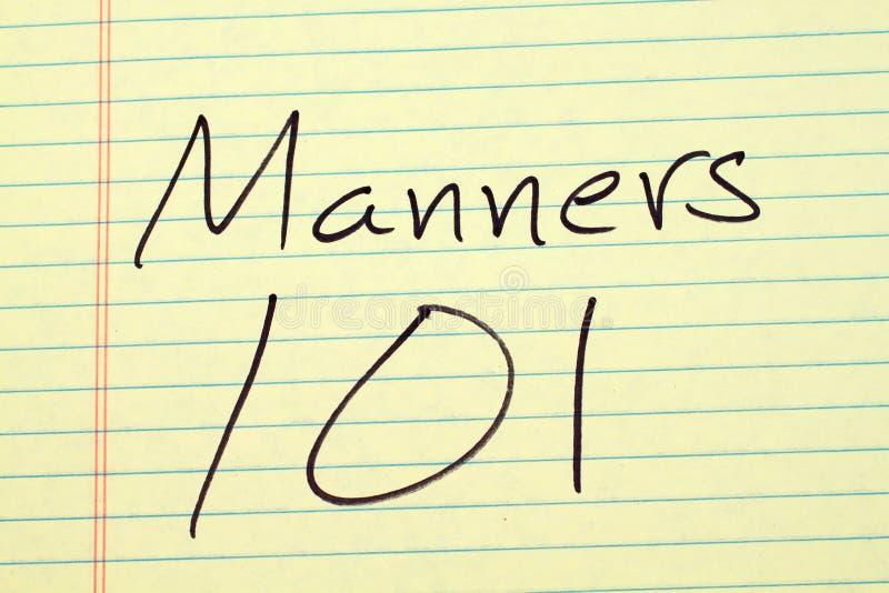 Manieren 101 op een Geel Wettelijk Stootkussen stock foto's