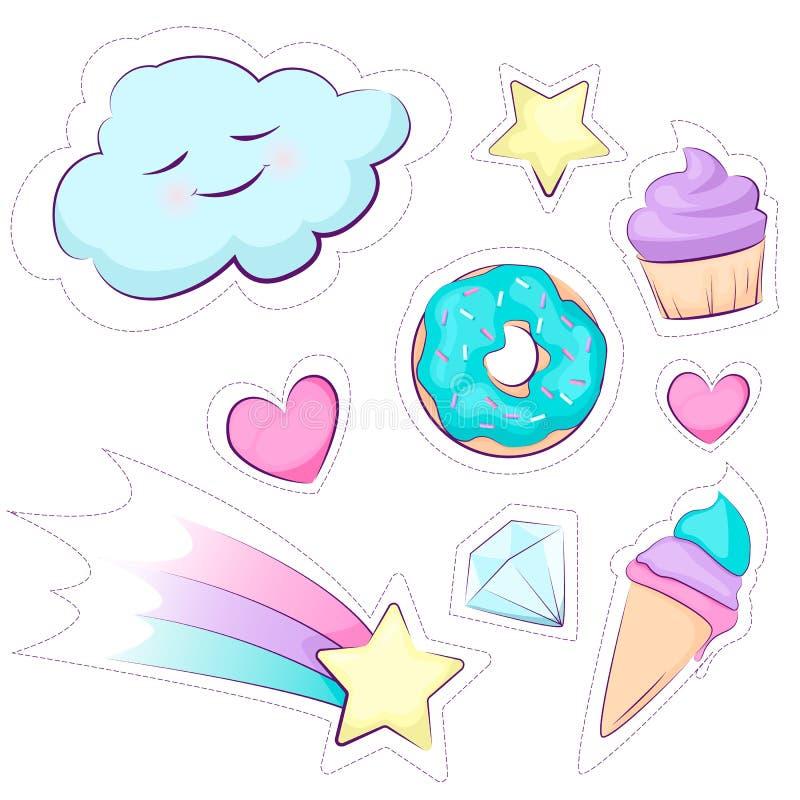 Manierflarden Reeks van leuke magische stickerregenboog, ster, cake, roomijs, wolk Vectordieontwerp op witte achtergrond wordt ge stock illustratie