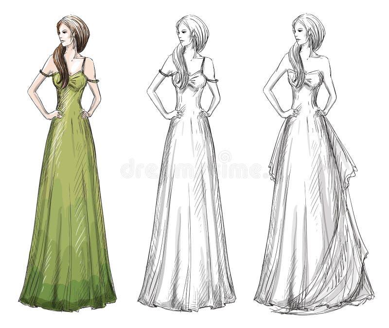 Manierhand getrokken illustratie Lange kleding stock illustratie