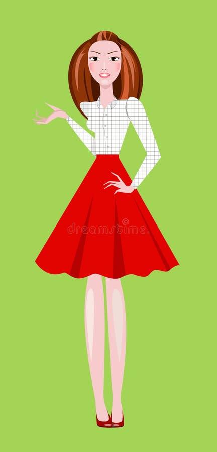 Manierillustratie die van meisje rode rok en witte geregelde blouse dragen stock fotografie