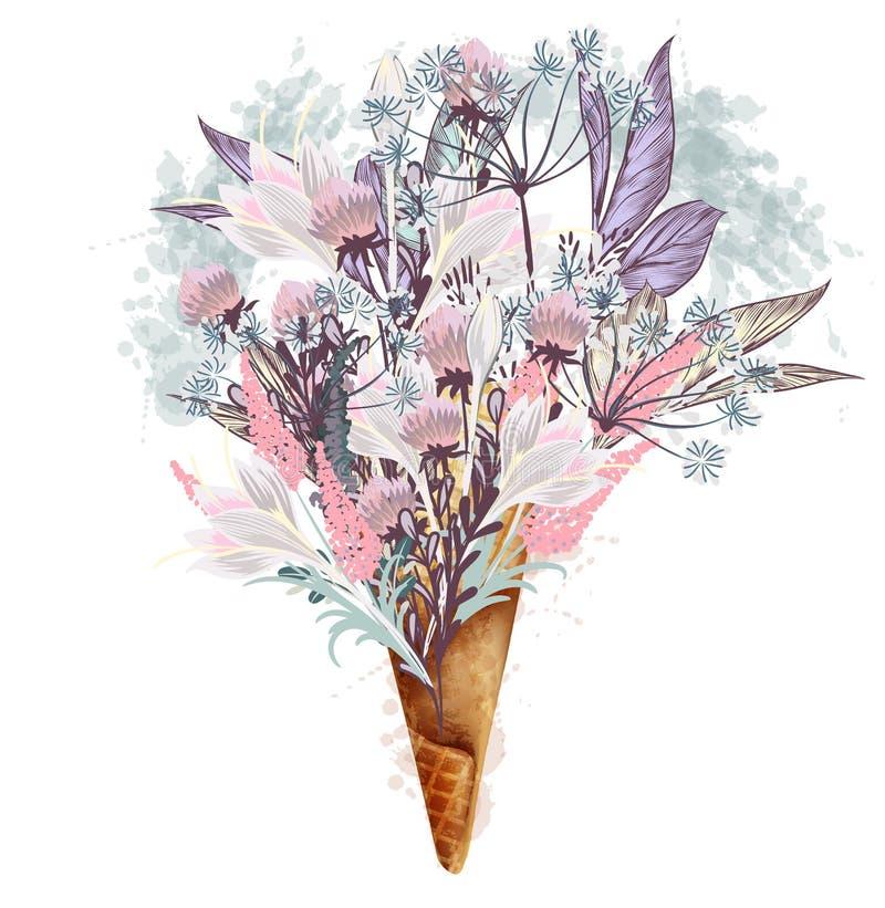 Manierillustratie, druk voor T-shirt met roomijs van bloemen royalty-vrije illustratie