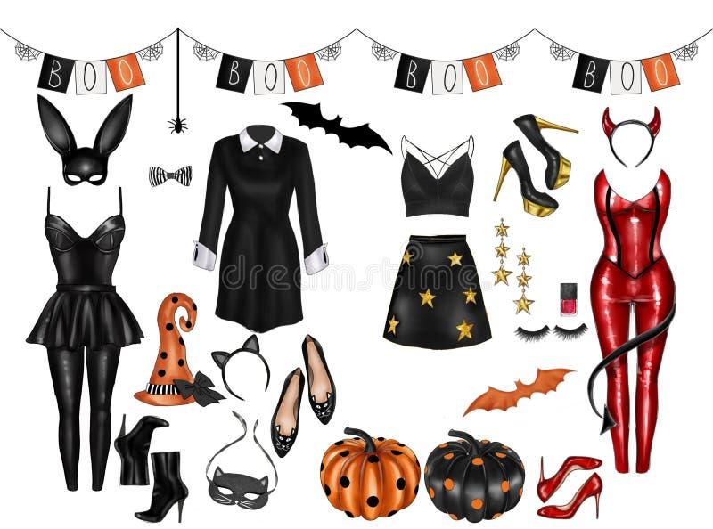 Manierillustratie - Halloween-geplaatste de kunsten van de manierklem vector illustratie