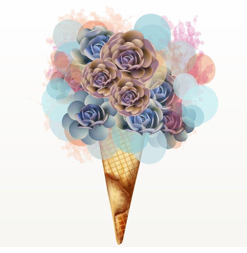 Manierillustratie, T-shirtdruk met creatief roomijs van roze succulents stock illustratie