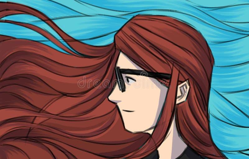 Manierillustratie voor meisje van het prentbriefkaar het lange haar royalty-vrije illustratie
