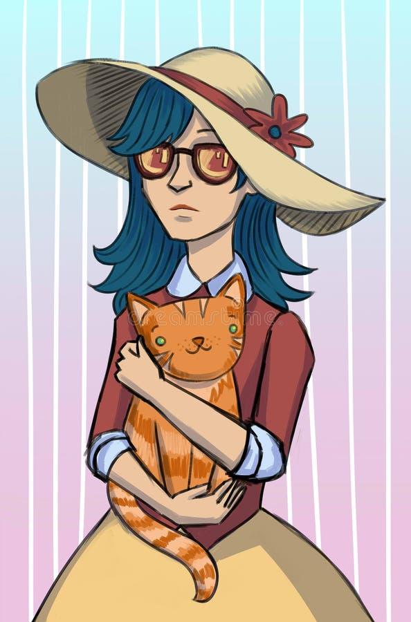 Manierillustratie voor prentbriefkaar in hoed met kat vector illustratie