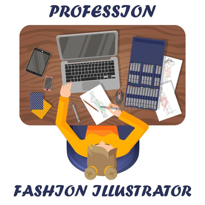 Manierillustrator op het werk Werkplaats van klerenontwerper Mening van hierboven royalty-vrije illustratie