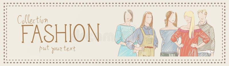 Manierinzameling van Klerenreeks Mannelijke en Vrouwelijke Modellen die In Kledingsschets dragen vector illustratie