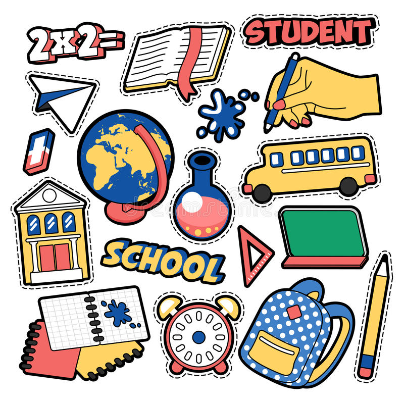 Manierkentekens, Flarden, Stickers in Grappig de Schoolthema van het Stijlonderwijs met Boeken, Bol en Rugzak stock illustratie