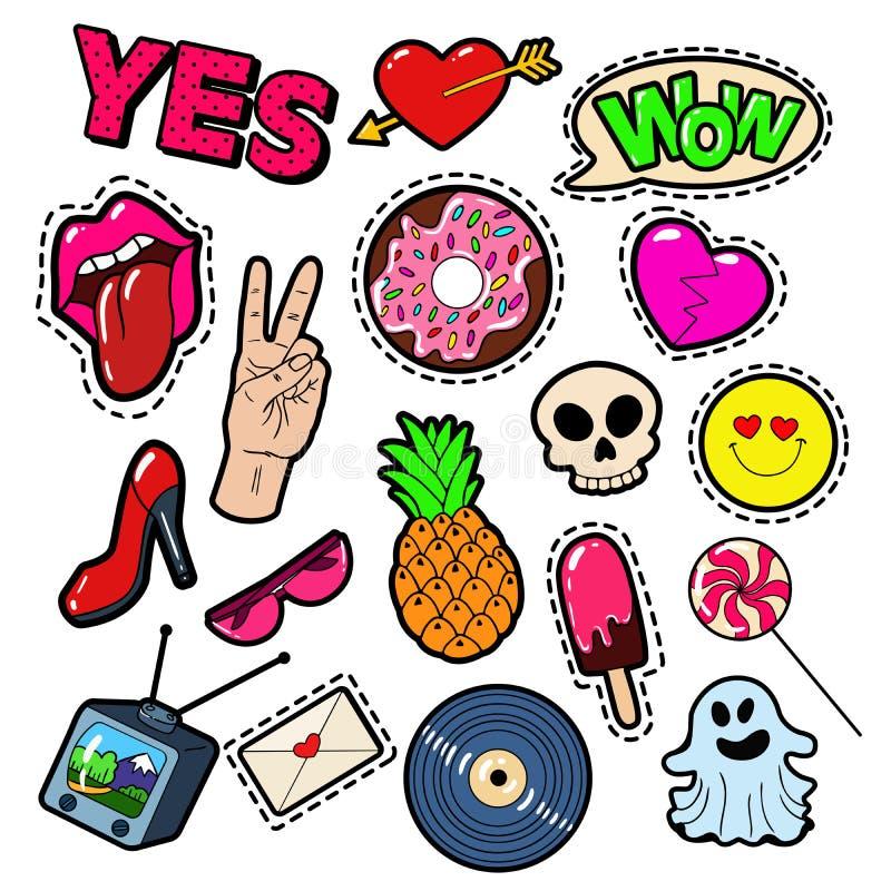 Manierkentekens, Flarden, Stickers met Meisjeselementen worden geplaatst - Lippen, Hart, Snoepjes, Toespraakbel in Pop Art Comic  royalty-vrije illustratie
