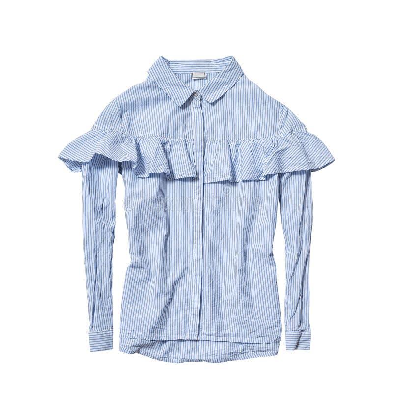 Manierkleren Blauw en wit gestreept die overhemd met flounce op witte achtergrond wordt geïsoleerd royalty-vrije stock fotografie