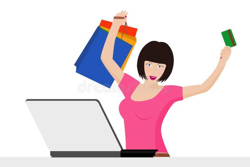 Maniermeisje het kopen online met creditcard en het winkelen zakken royalty-vrije illustratie