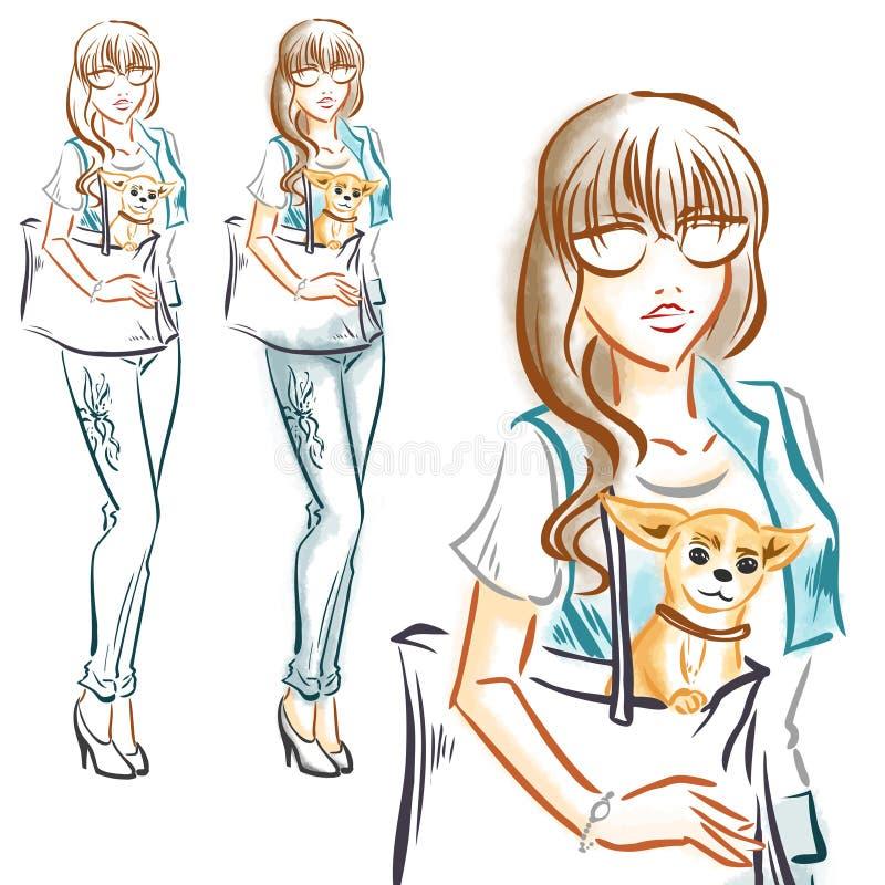 Maniermeisje met weinig hondchihuahua vector illustratie