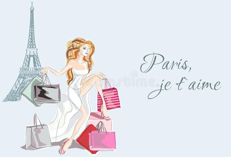 Maniermeisje in witte kledingszitting dichtbij de Toren van Eiffel en gelukkig met haar het winkelen van Parijs vector illustratie
