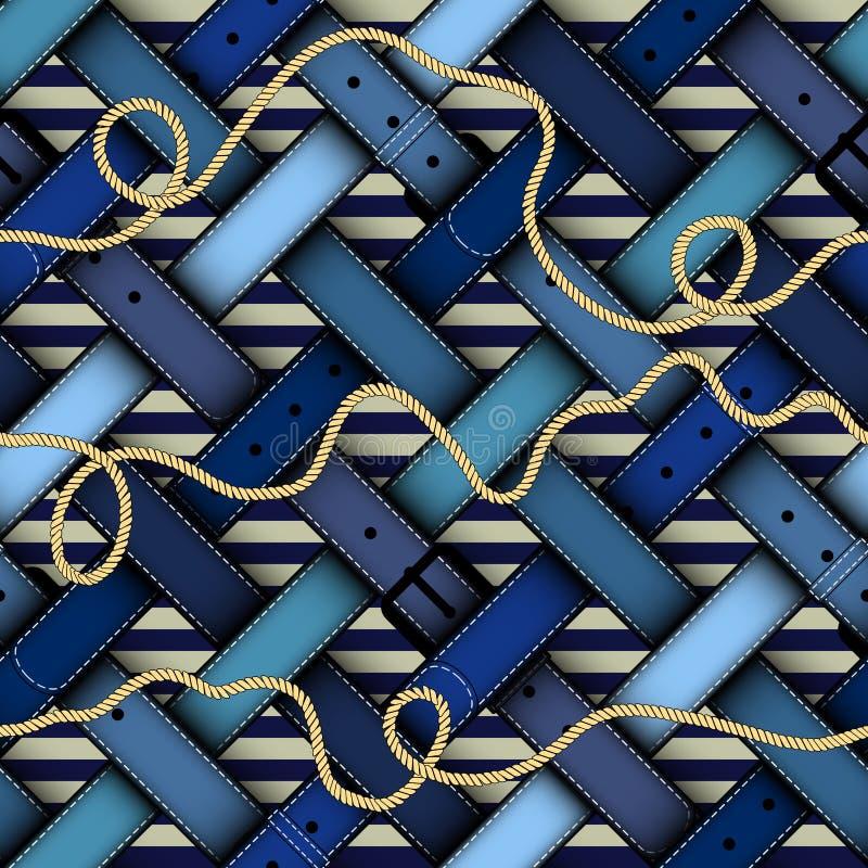 Manierpatroon met riemen stock illustratie