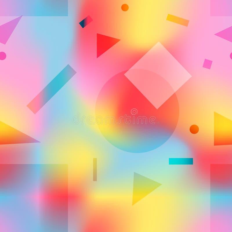 Manierpatroon met roze, gele en blauwe vormen vector illustratie