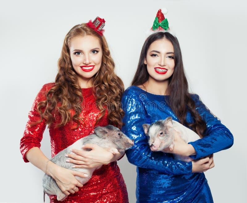 Manierportret van twee gelukkige vrouwen in rode en blauwe lovertjekleding met kleine varkens stock afbeeldingen