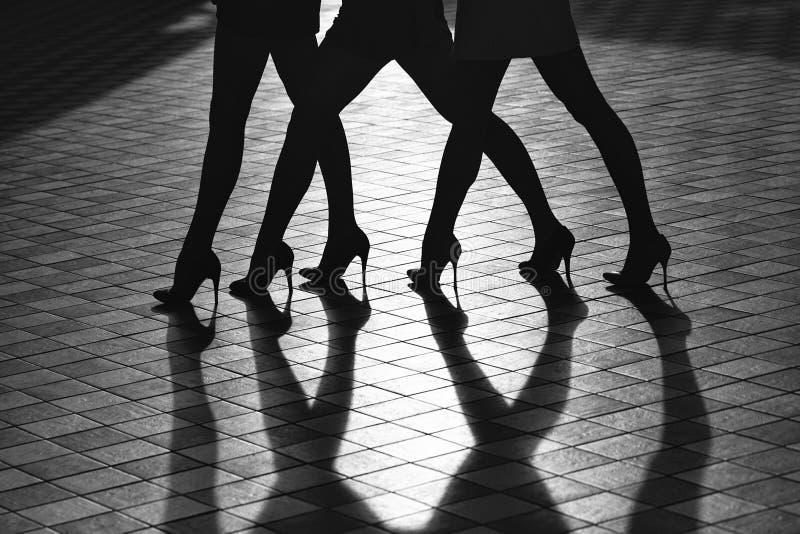 Manierportret van vrouwelijke benen Vrouwelijke benen in modieuze schoenen stock fotografie