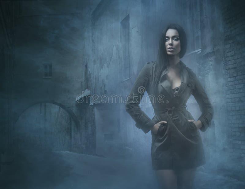 Manierspruit van een jong en sexy brunette in mist stock fotografie