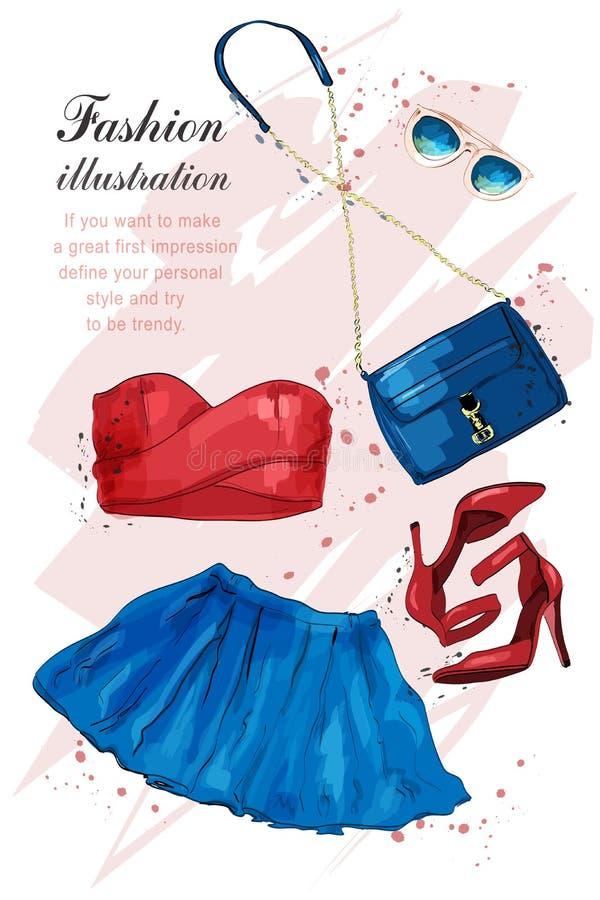 Manieruitrusting Modieuze in kleding: kleding, gewassenbovenkant, zonnebril, zak Geplaatste het meisjeskleren van de manierzomer, stock illustratie