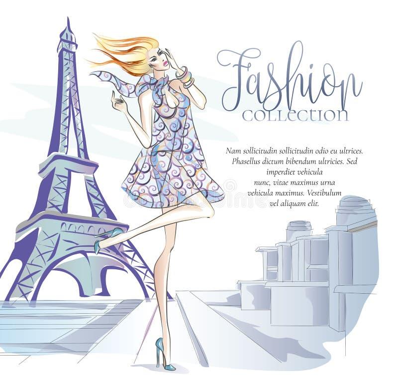 Maniervrouw dichtbij de toren van Eiffel in Parijs, manierbanner met tekstmalplaatje, online het winkelen sociale media advertent stock illustratie