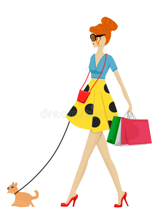 Maniervrouw die met hond en het winkelen zakken lopen vector illustratie