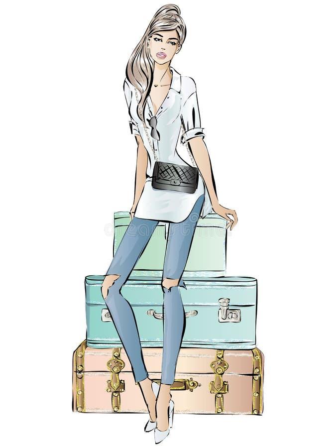 Maniervrouw met bagage, de manier van de straatstijl, de getrokken illustratie van het reismeisje hand royalty-vrije illustratie