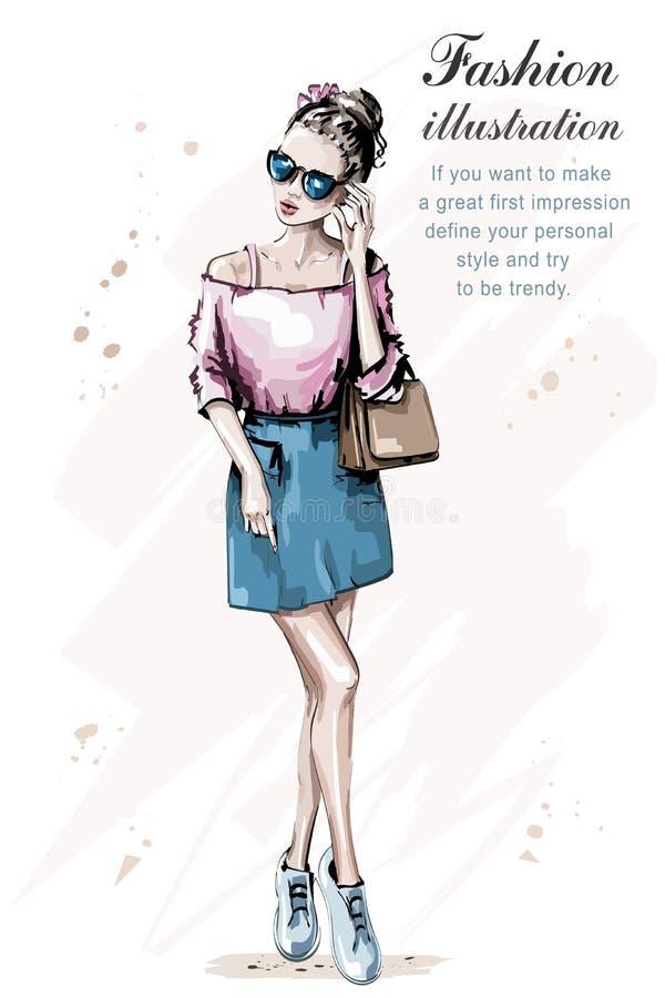 Maniervrouw met zak Modieuze bruine haarvrouw in zonnebril Hand getrokken mooi meisje schets stock illustratie