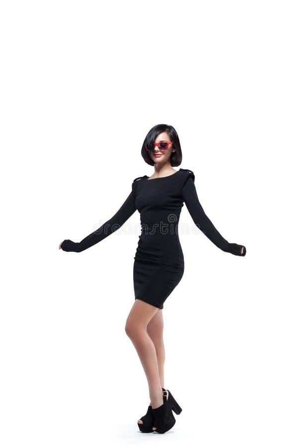 Maniervrouw in rode zonnebril royalty-vrije stock foto