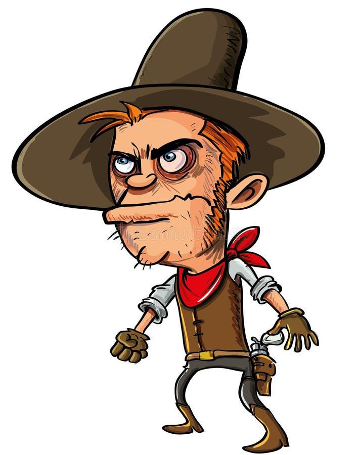 Manieur de pistolet de cowboy environ à dessiner illustration de vecteur