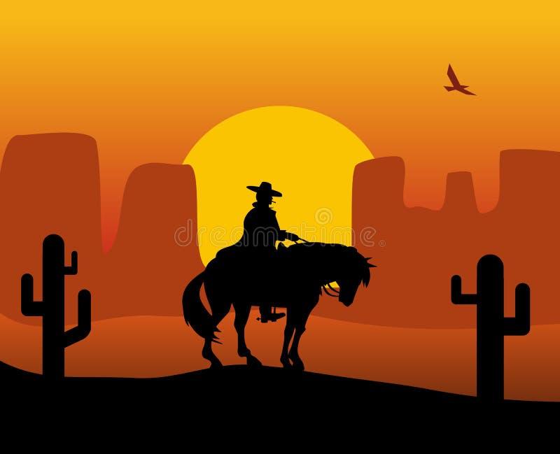 Manieur de pistolet occidental sauvage dans un imperméable montant un cheval Fond le désert illustration de vecteur