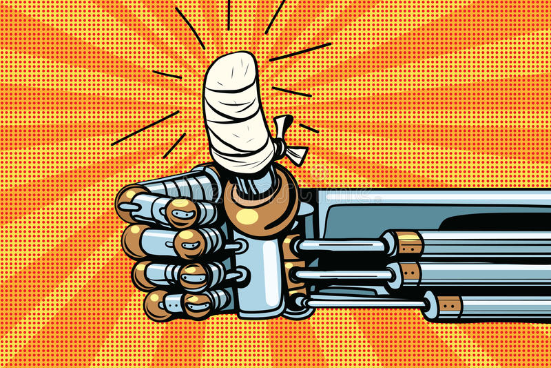Maniez maladroitement comme le geste, la main de robot est bandé illustration libre de droits