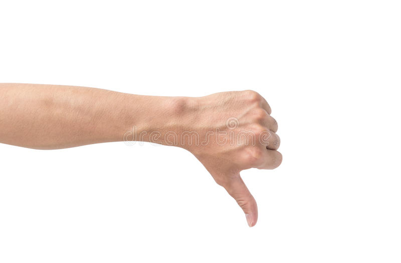 Maniez maladroitement en bas du signe de main d'isolement sur le fond blanc photographie stock libre de droits