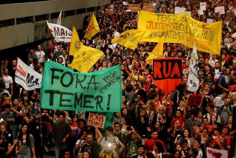 Manifest i Sao Paulo/Brasilien royaltyfri fotografi
