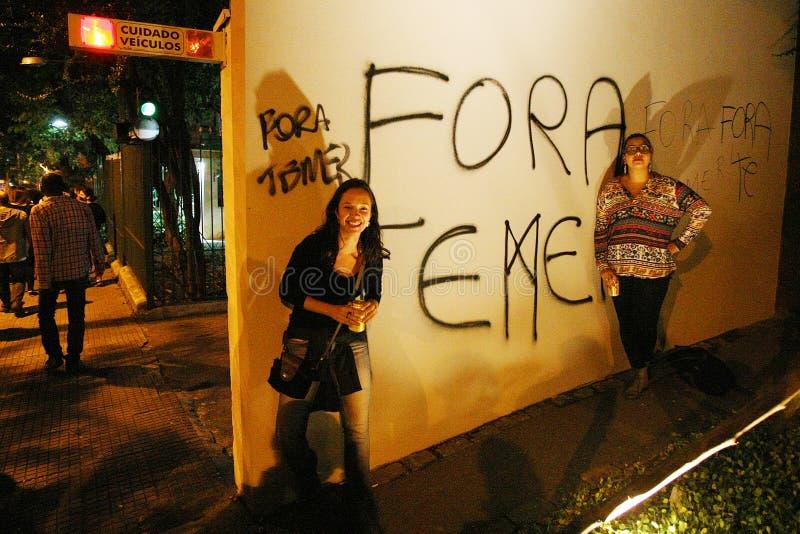 Manifest i Sao Paulo/Brasilien arkivbild