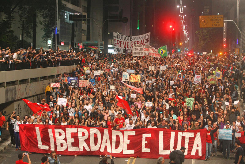 Manifest i Sao Paulo/Brasilien royaltyfri foto