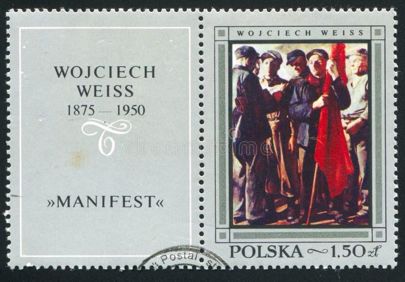 Manifest. POLAND - CIRCA 1968: stamp printed by Poland, shows Manifest, by Wojciech Weiss, circa 1968 stock photography