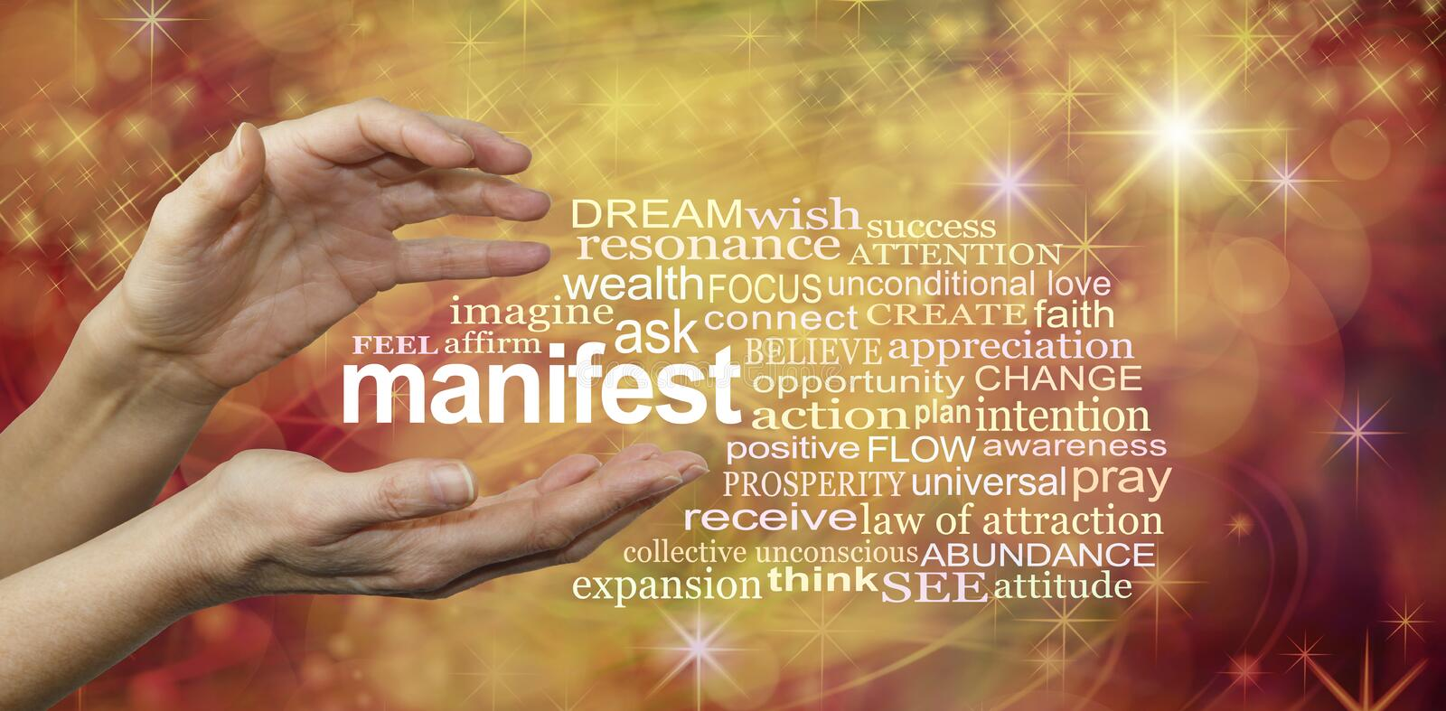 Manifest Your Dreams Word Cloud stock images