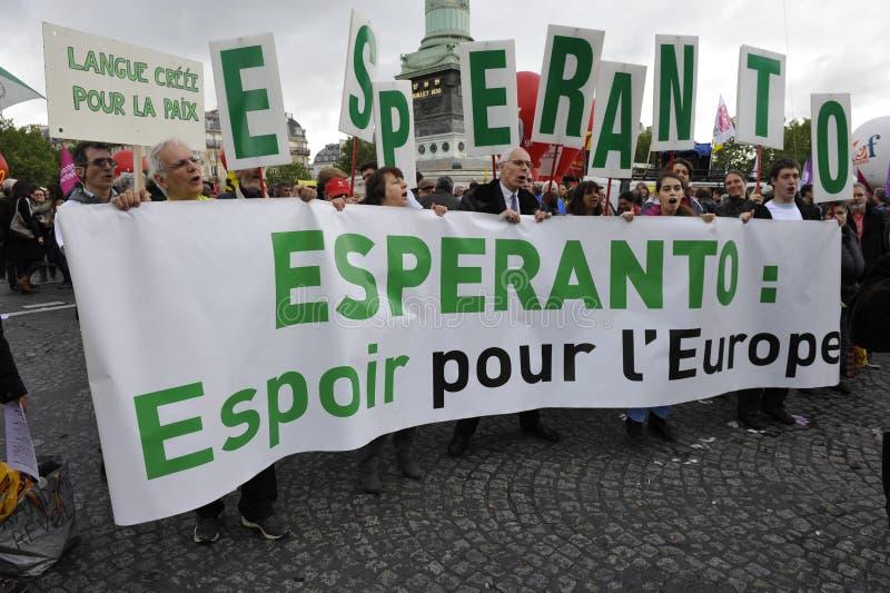 Manifestação do primeiro de maio, Paris, fãs do esperanto fotografia de stock royalty free