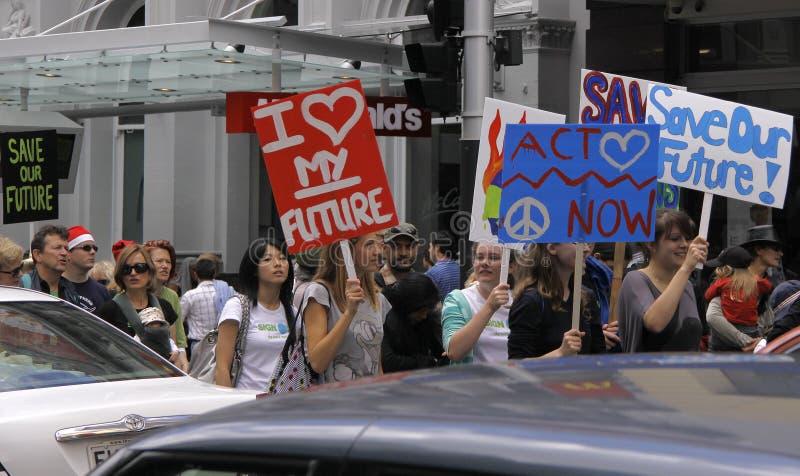 Manifestación de la campaña del cambio de clima imagenes de archivo