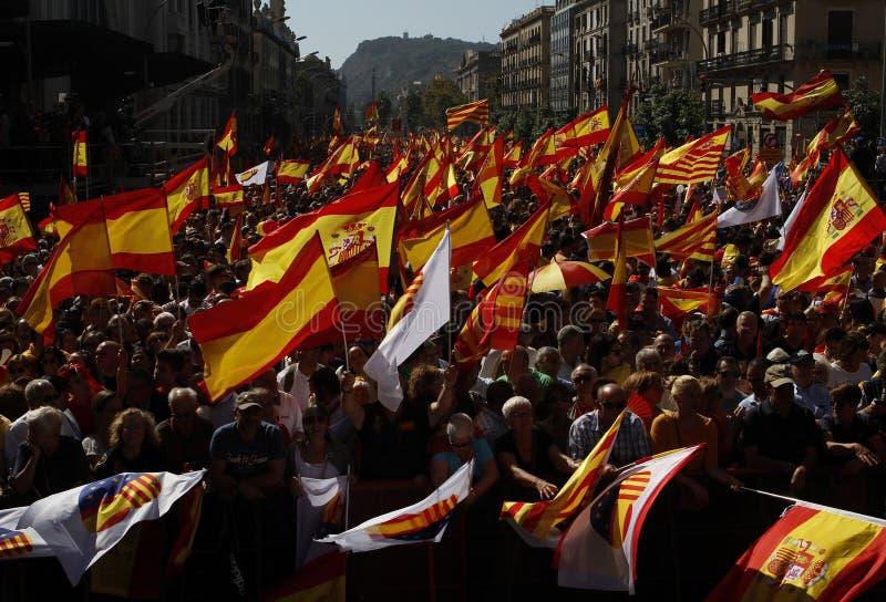 Manifestación de la unidad de España en Barcelona fotografía de archivo libre de regalías