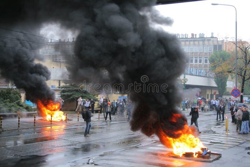 Manifestación de los trabajadores fotografía de archivo